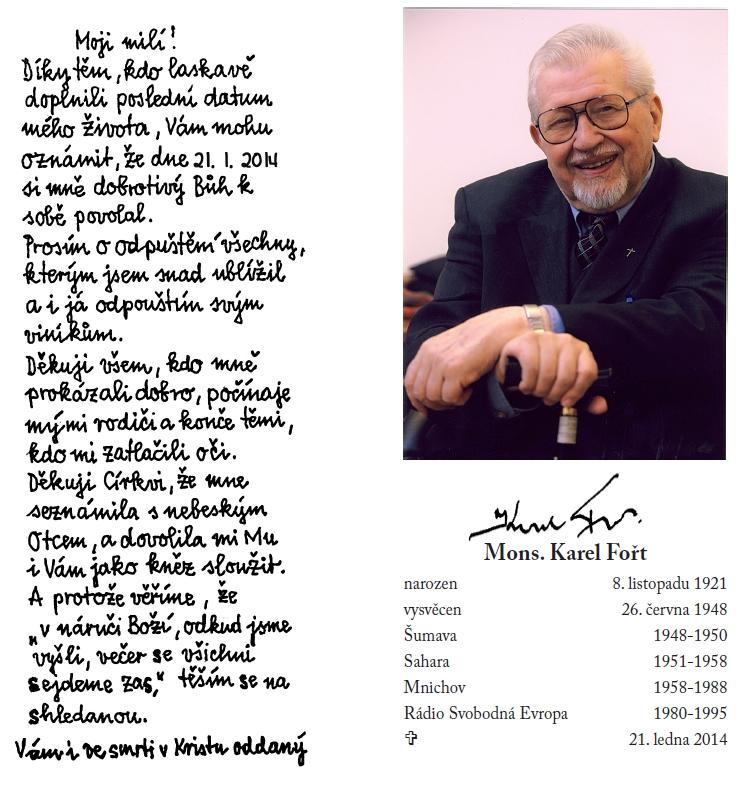 Karel Fořt - dopis na rozloučenou